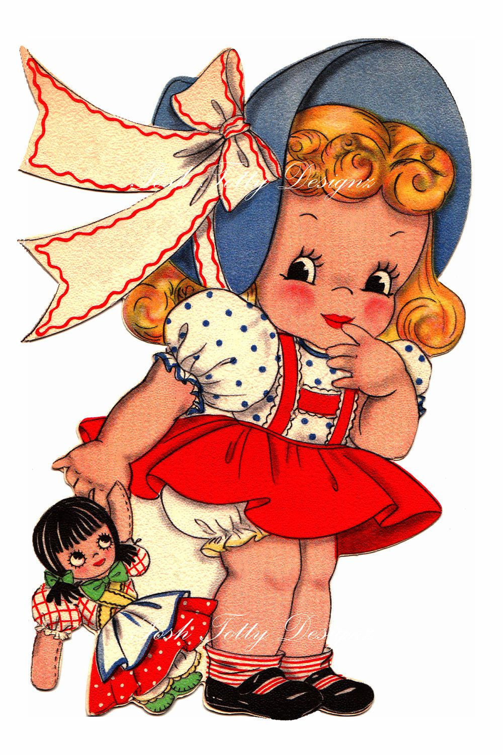 Little Girl And Her Dolly 1930s Greetings Card Vintage Digital