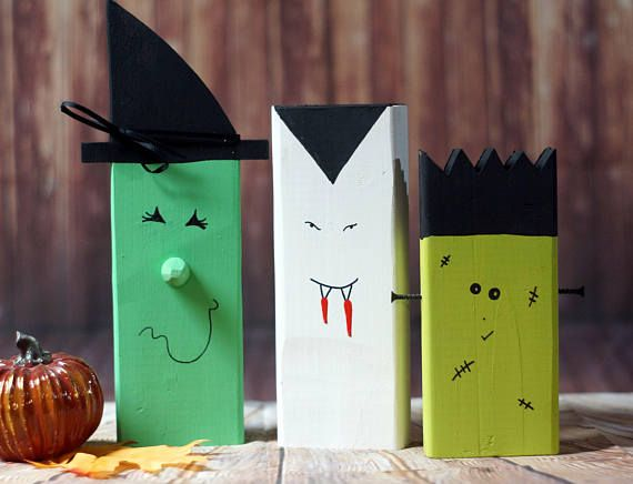 Wood Witch, Vampire, Frankenstein, Rustic Fall decor, Fall Porch