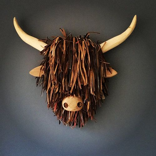 Handmade Wooden Wall Mounted Highland Cow Heads By Headsintheshed In 2020 Highland Cow Cow Head Animal Heads On Wall