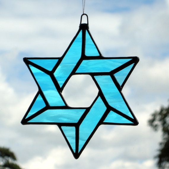 Stained Glass Ornament Star Of David Sky Blue Stained