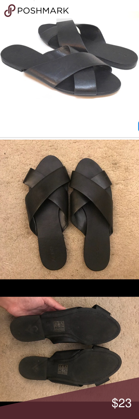 b6517156c58 Also black leather Camilla criss cross sandal Worn once