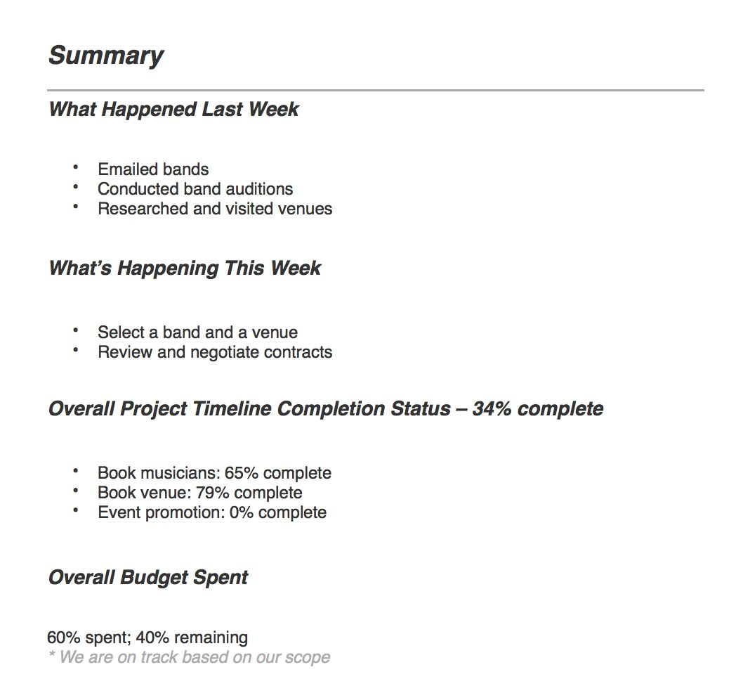 Project Management Reporting Types Tips Teamgantt In Report To Senior Management Template Professional Templates Report Writing Template Writing Templates