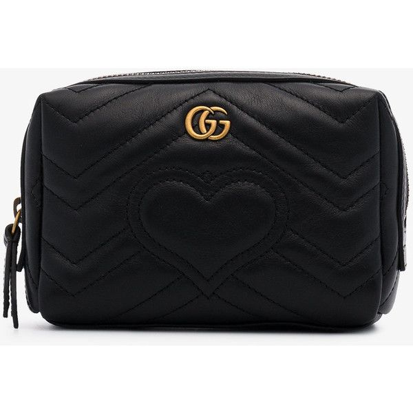 69c4796c6cc7 Gucci Black Gg Marmont Leather Cosmetic Case ($510) ❤ liked on Polyvore  featuring beauty