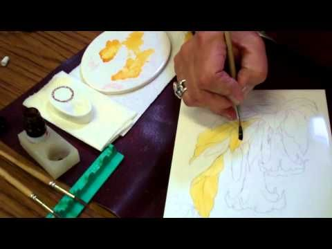 """Demonstration on how to """"paint"""" with lustre using a brush onto china or porcelain by Jackie Halhead, UK"""