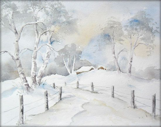 Wintertag Aquarell Watercolor 23 X 30 Cm Original