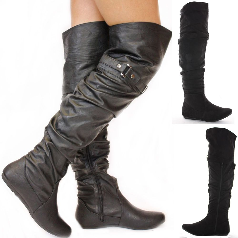 Ladies Black Flat Winter Walking Style Heel Over Knee Thigh High ...