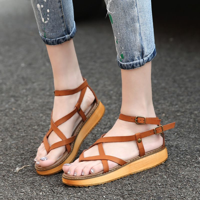 7f69630ccc0b 2017 summer casual students shoes cross strap buckle ladies women flip flop  sandals comfortable Gladiator Beach plus size 35-43