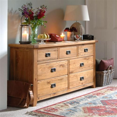 Dining Room Chest Of Drawers: Cottage Oak Wide 3+4 Chest Of Drawers