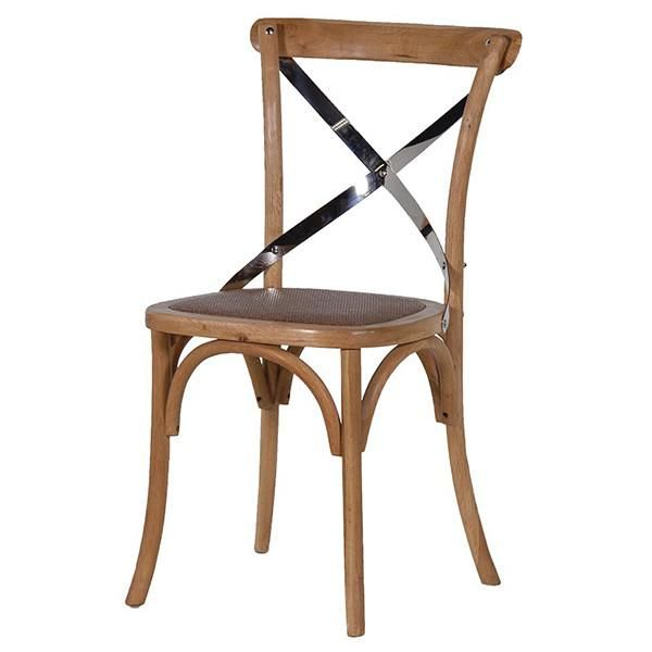f9b43f851610f Natural Bentwood Dining Chair Steel Cross Back - Modish Living ...