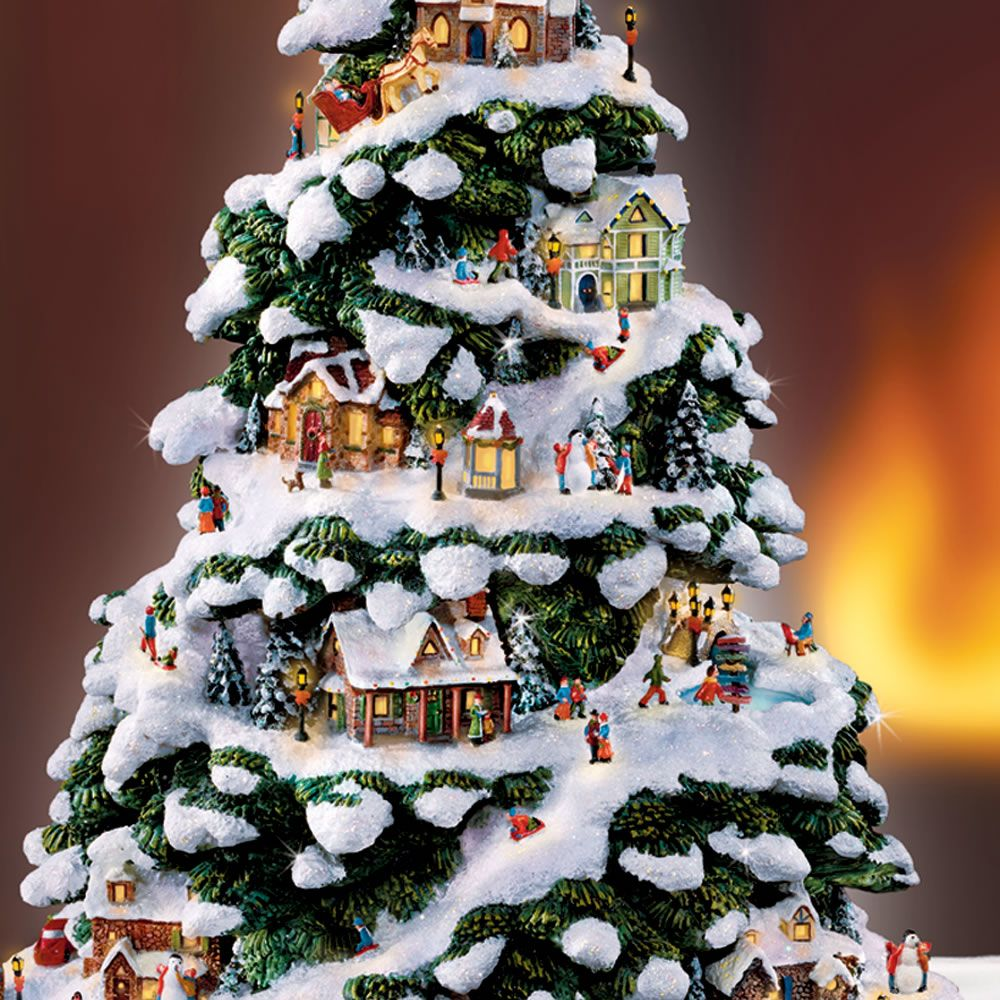 Thomas Kinkade Illuminated Tree Village From Hammacher