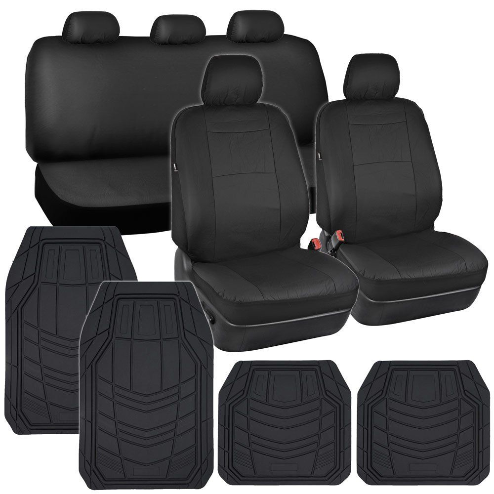 Rubber floor mats toronto - Car Seat Covers Black Pu Leather W Heavy Duty Rubber Floor Mats For Auto
