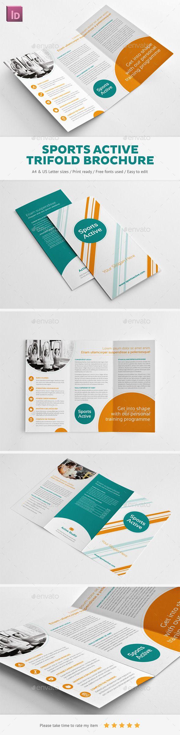 Sports Active Trifold Brochure — EPS Template | DESIGN. | Pinterest ...