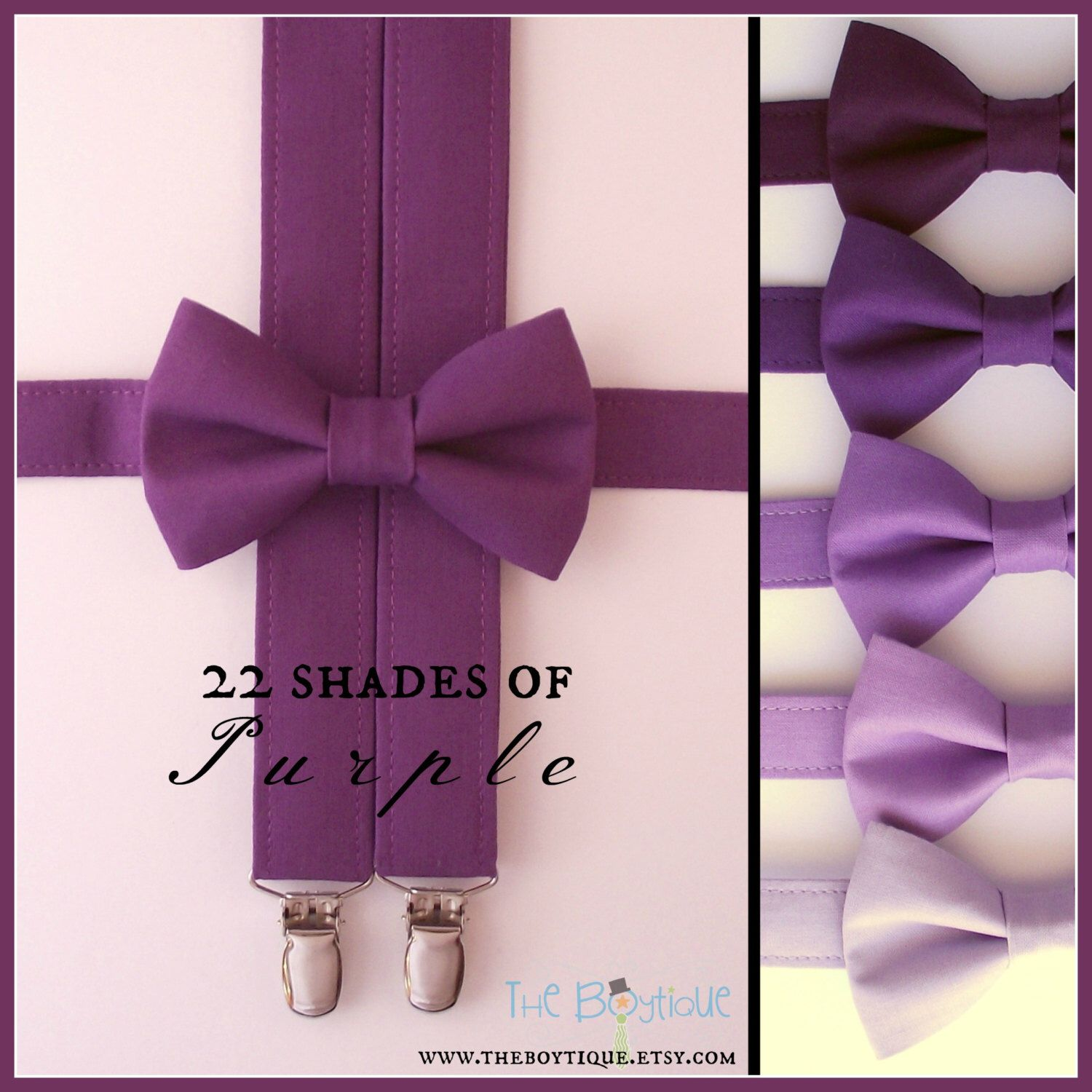85865017f6e3 Purple Bow Tie and Suspenders: Purple Suspenders, Ring Bearer Gift,  Toddler, Boy