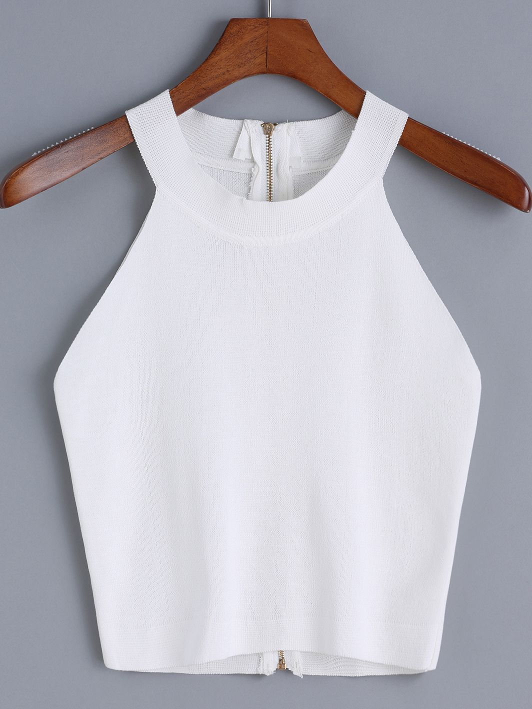 romwe halter zipper knit cami top crop tops pinterest. Black Bedroom Furniture Sets. Home Design Ideas