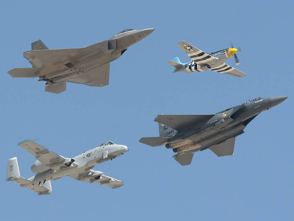 F-22 A Raptor, A-10 Warthog, P-51 Mustang, F-15 Eagle A