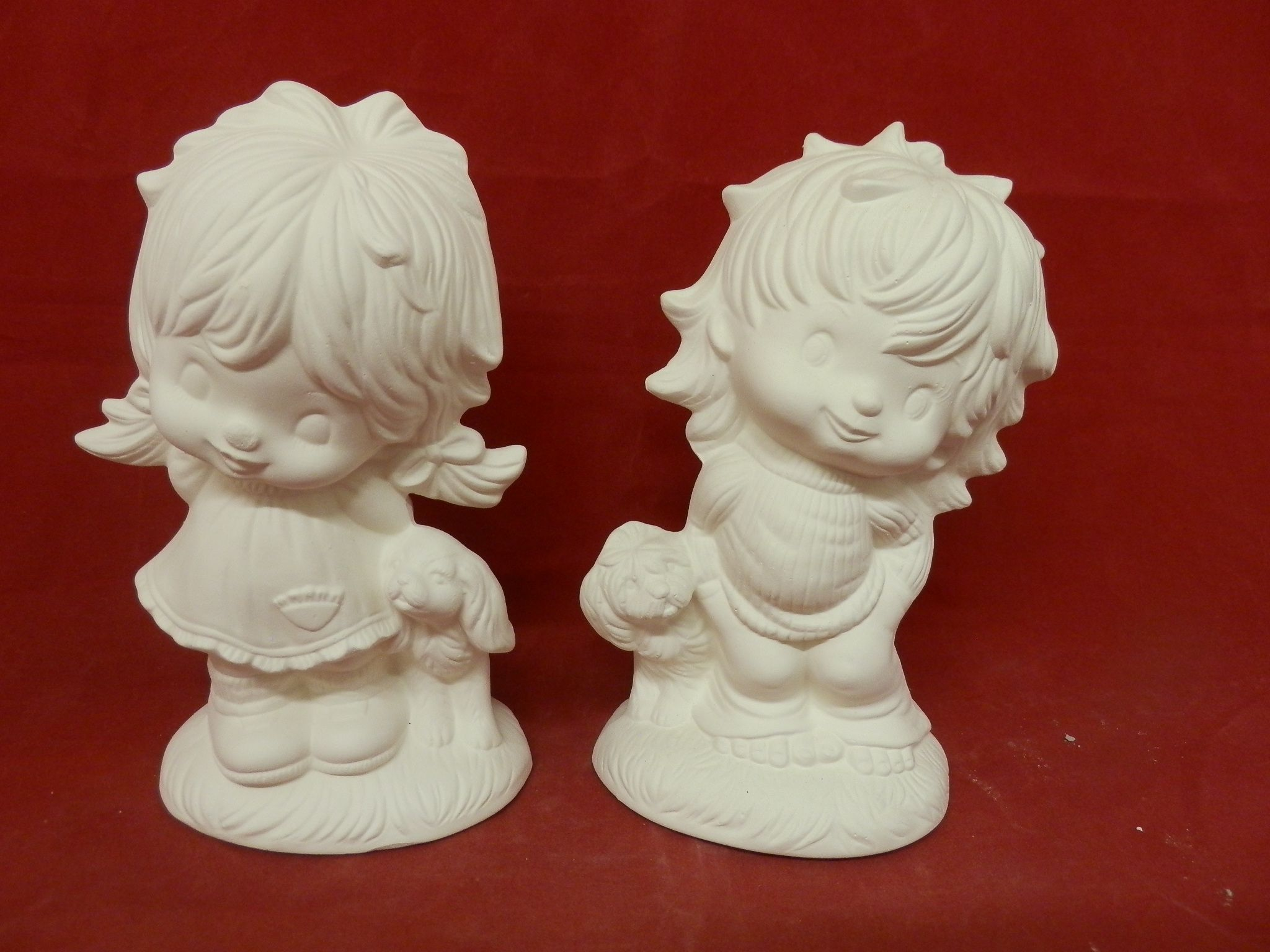 Adorable Barefoot Boy & Girl with dogs * Ceramic Bisque*U-Paint $7.99