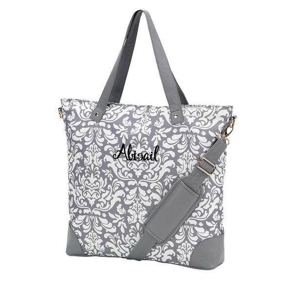 Personalized Damask Shoulder Bag Laptop Bag Gray Damask Duffle Tote  Personalized Duffle Bag -Personalized Large