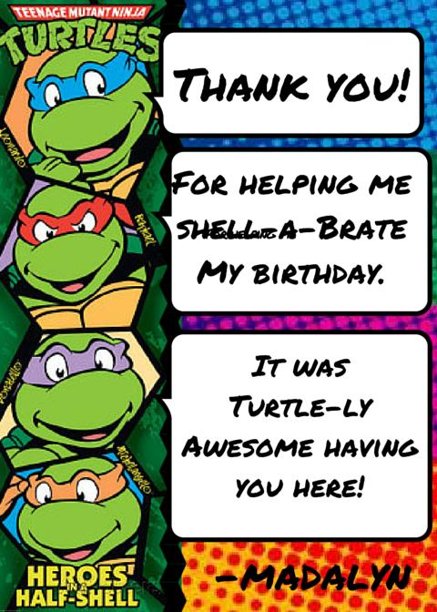 Teenage Mutant Ninja Turtles Tmnt Thank You Card Ninja Turtle Invitations Ninja Turtles Birthday Party Turtle Birthday Invitations