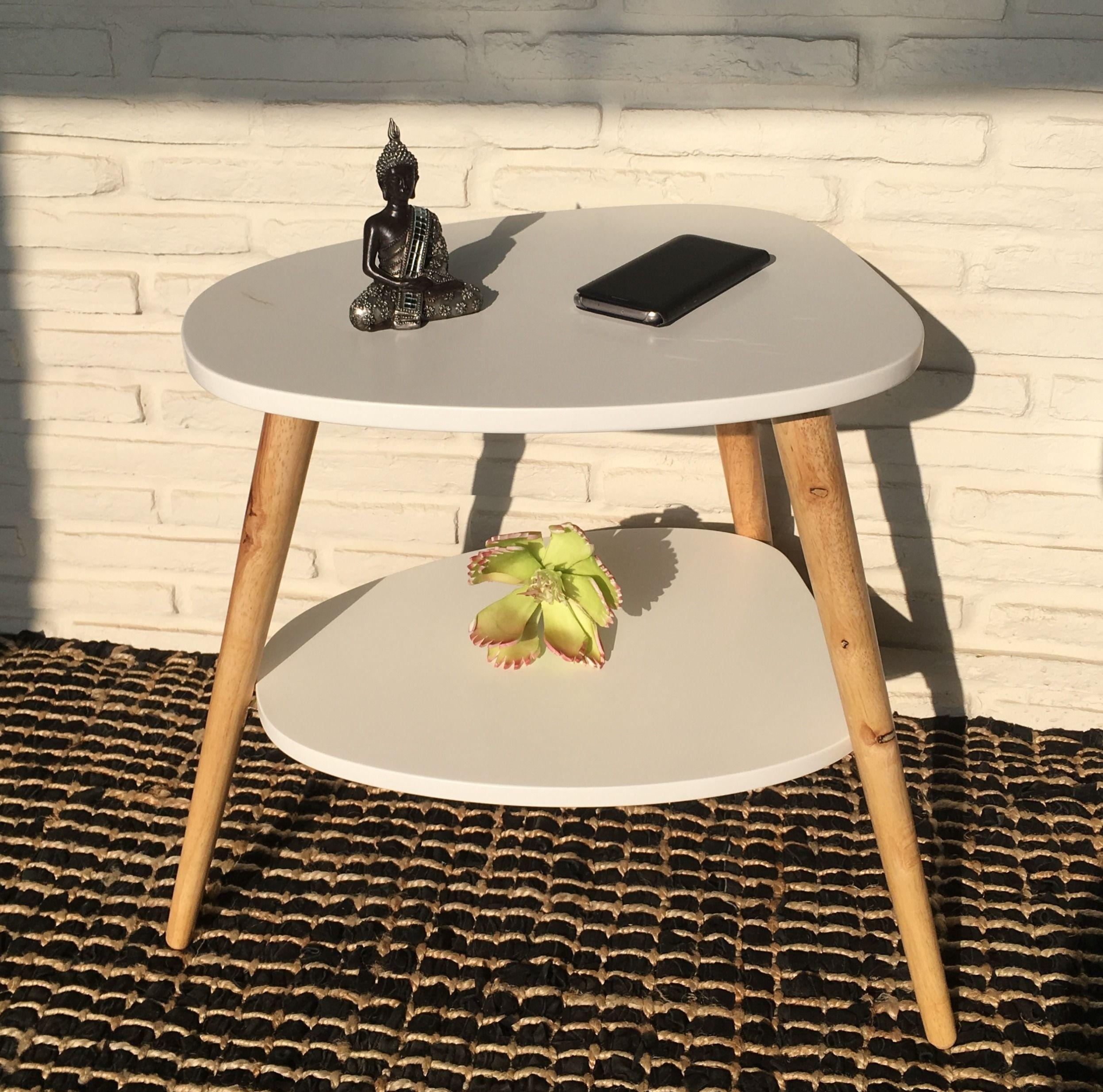 Beistelltisch Nachttisch Couchtisch 50 X 40 X 55 Cm Weiss Natur Mit