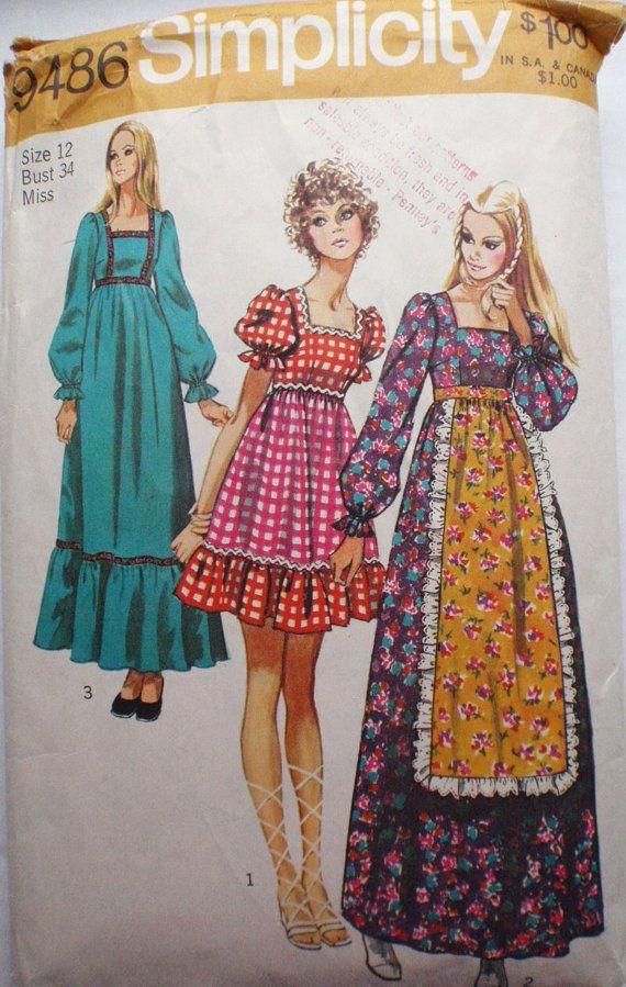 Women\'s Vintage Sewing Pattern - Bohemian Dress - Simplicity 9486 ...