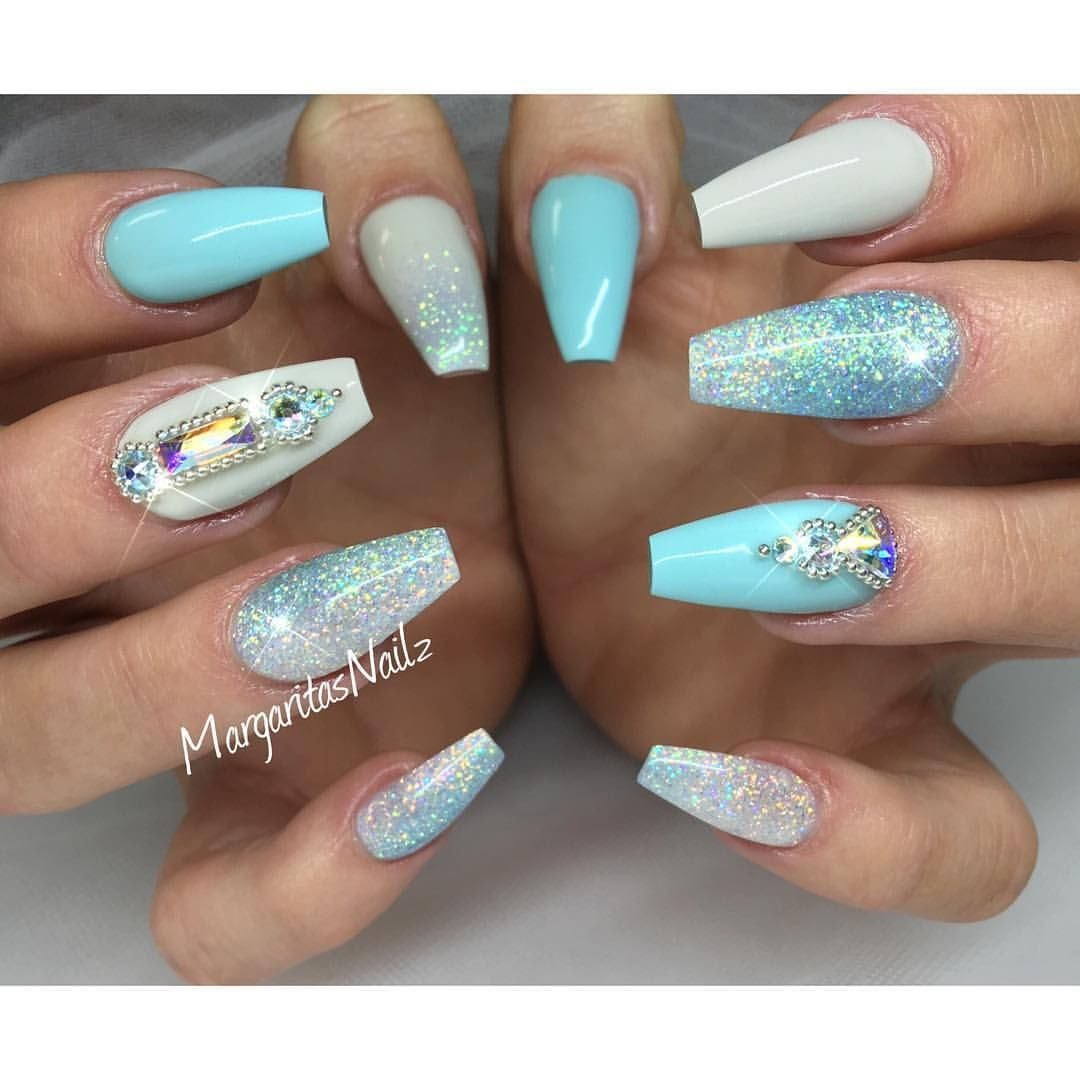 Pastel blue coffin nails summer 2016 nail art glitter ombré | Nail ...