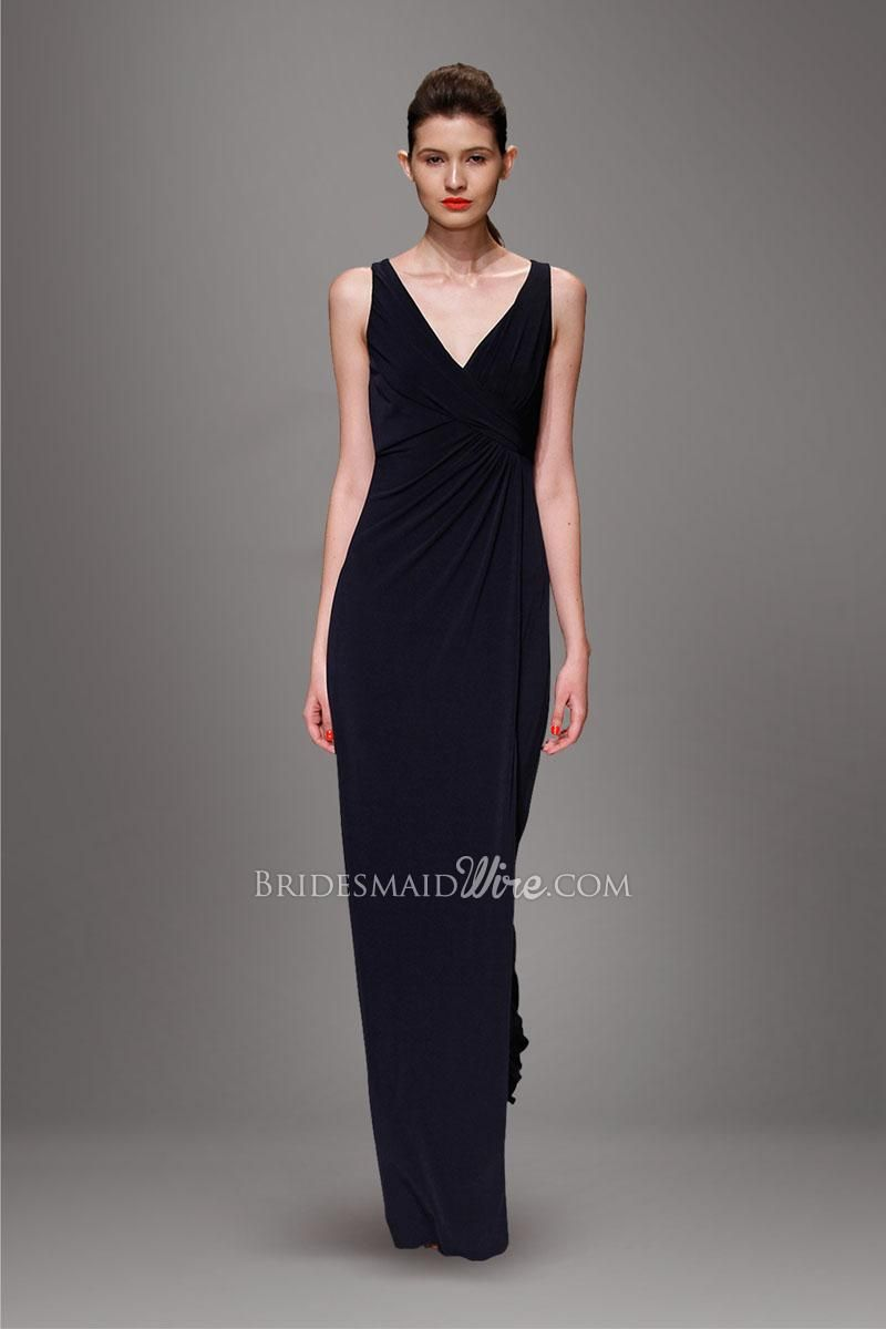 Dark navy sleeveless v neckline ruched bodice slim floor length