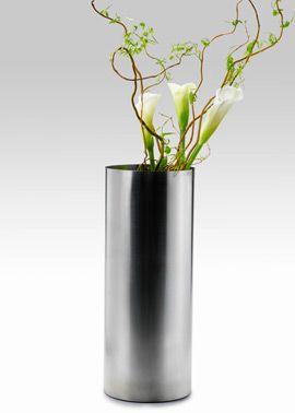 8 X 20in Stainless Steel Cylinder Vase Modern Flower Arrangements