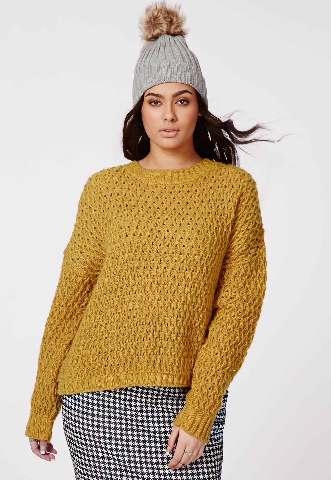 ccb527b24c1 Plus Size Chunky Knit Jumper Mustard - Plus Size Knitwear- Women s plus size  - Missguided +