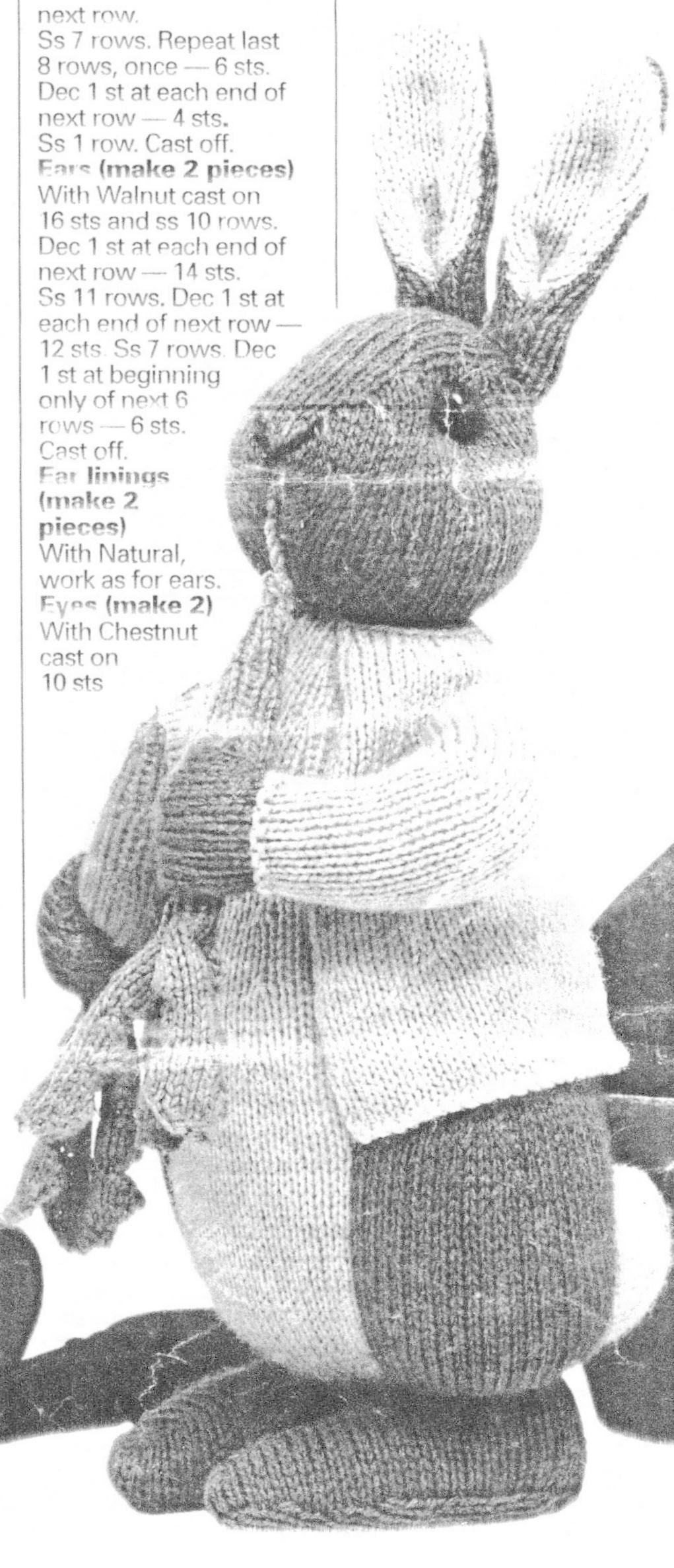 Designed by Alan Dart this lovely pattern for a knitted Peter Rabbit ...
