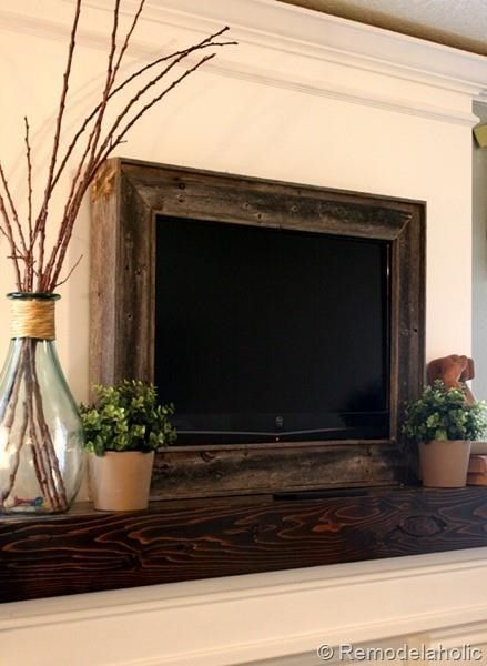 wooden framed tv. also love the decorations around it. | Dream Home ...