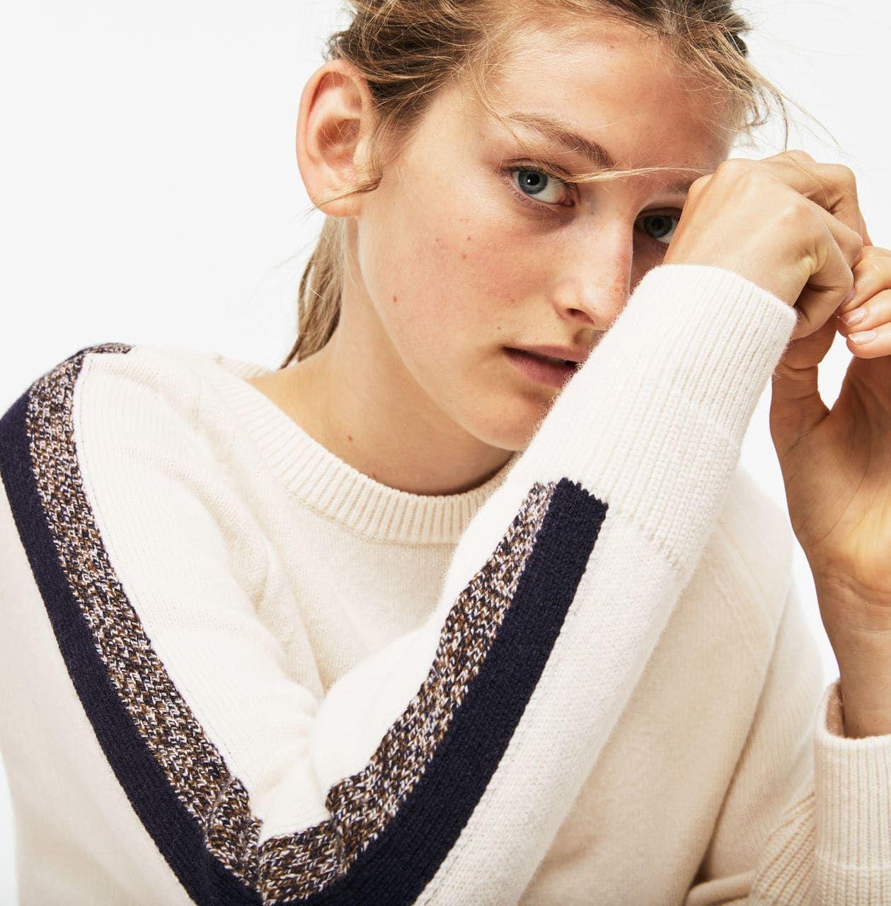 bfc0510a1b Pull col rond Made in France en jersey de laine à bandes contrastées ...