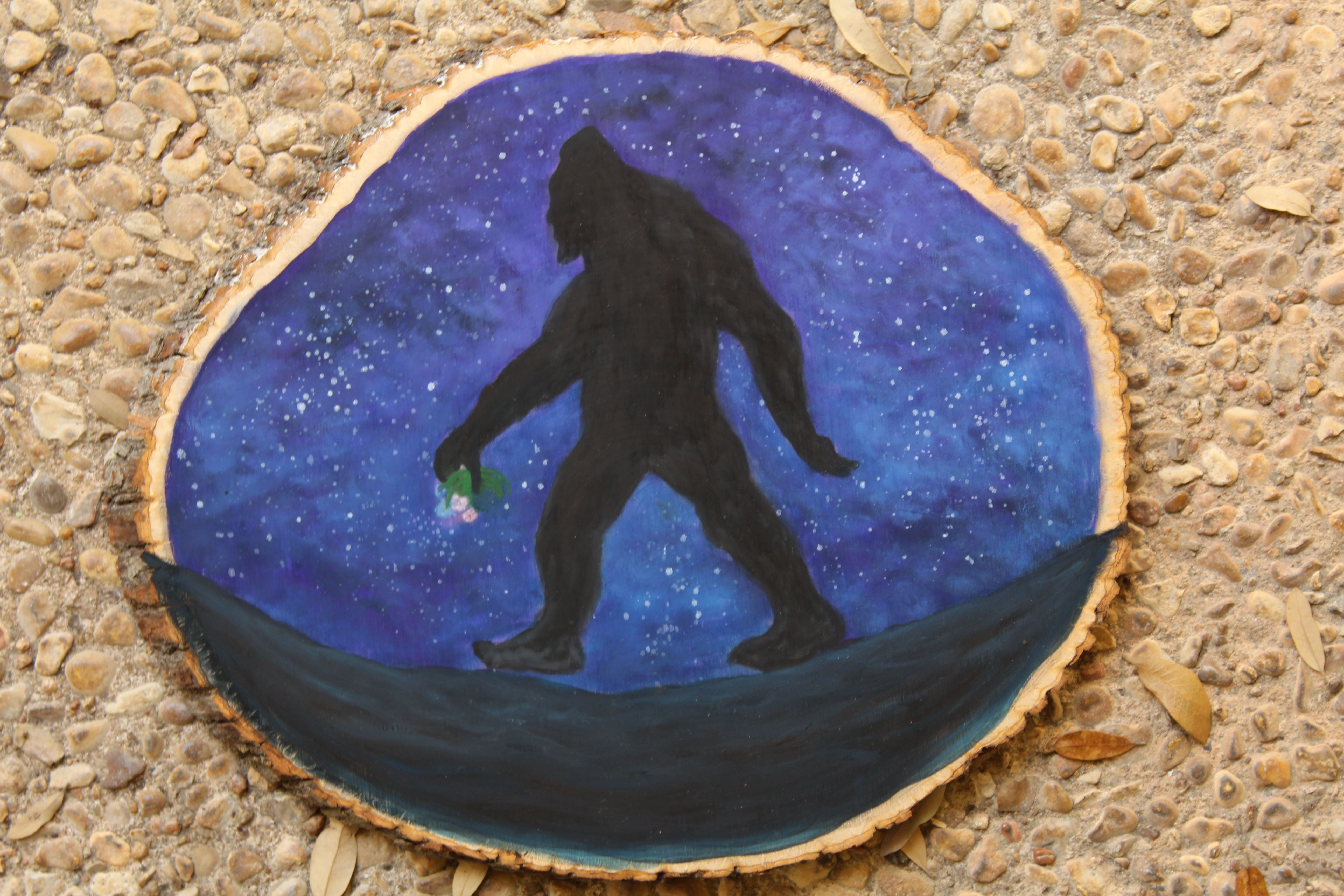 Wood slice wall art bigfoot oil painting bigfoot oil and woods