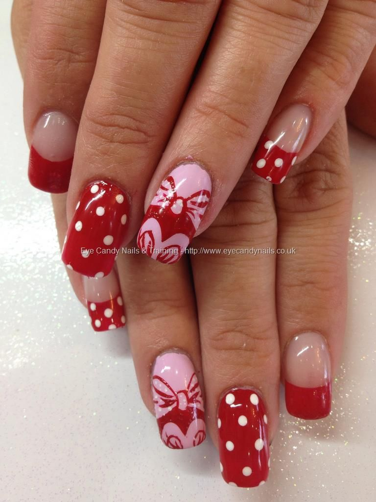 Pink,+red+and+white+Minnie+Mouse+nail+art | Nail Art | Pinterest ...