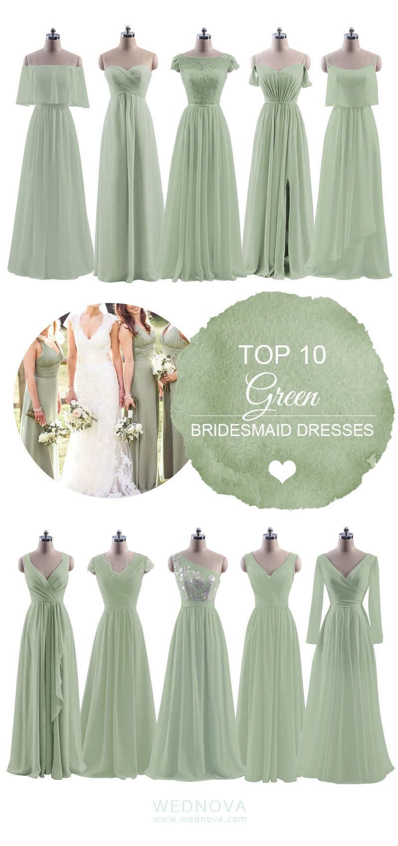Top green bridesmaid dresses different neck design with long