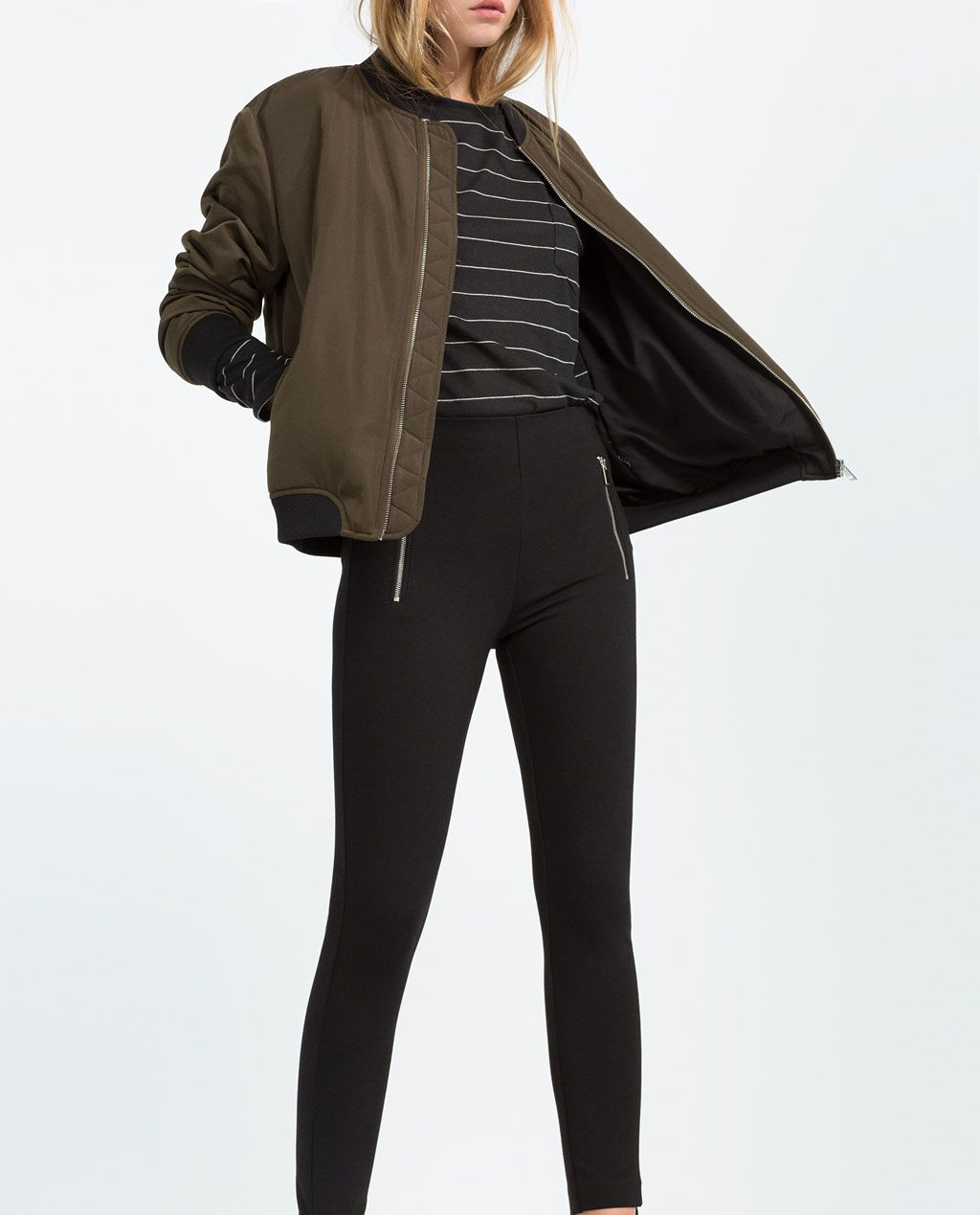 7c24d7e5e8be7 Image 1 of SIDE ZIP LEGGINGS from Zara Zara Women, Trousers Women, Black  Jeans
