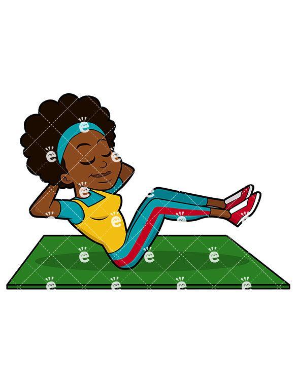 Black Woman Exercising Her Abs Cartoon Vector Clipart Friendlystock Abs Exercise Cartoons Vector
