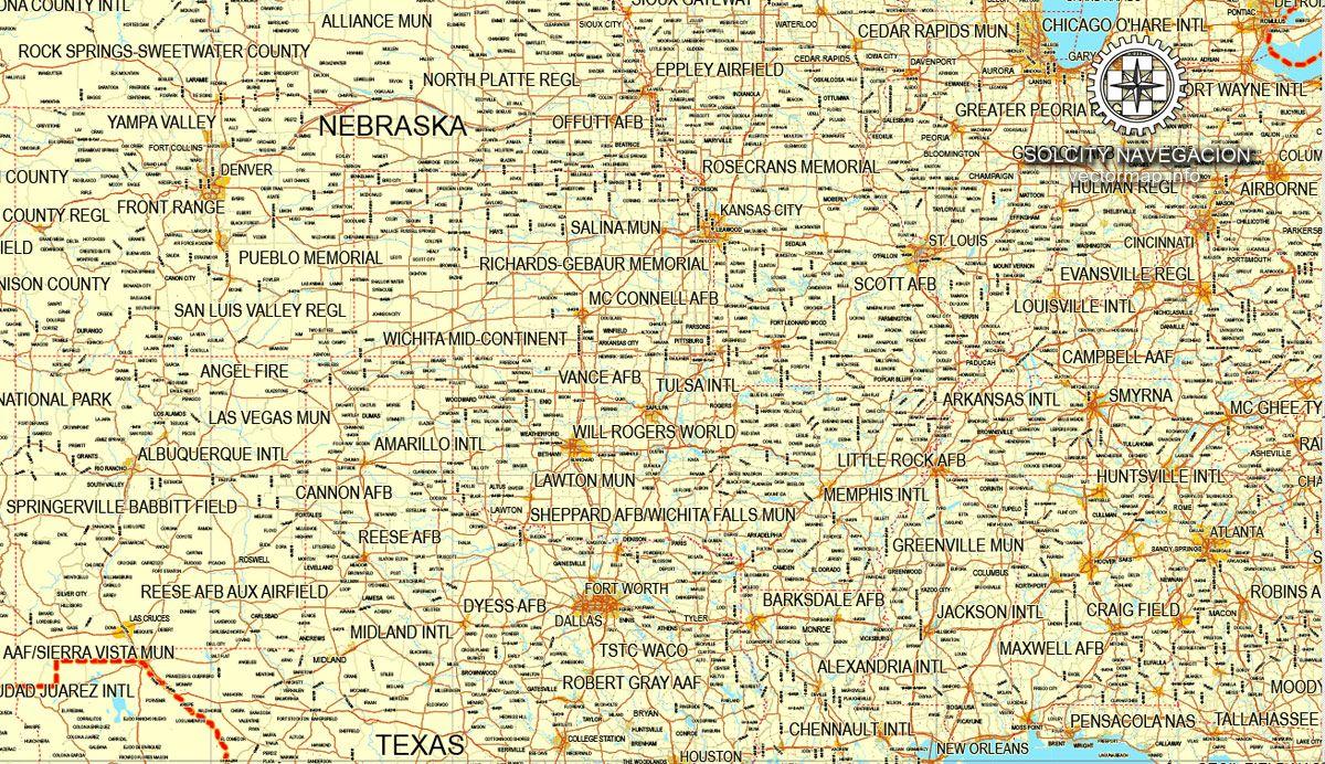 USA Canada printable vector Counrty Road map GPS correct