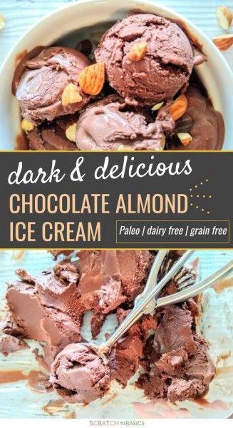 Quick & Easy Chocolate Almond Paleo ICe Cream #healthyicecream