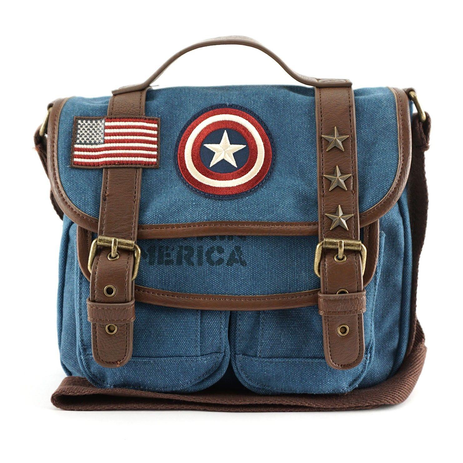 eb10ed98e45a Loungefly x Marvel Captain America Canvas Messenger Bag - Marvel - Brands