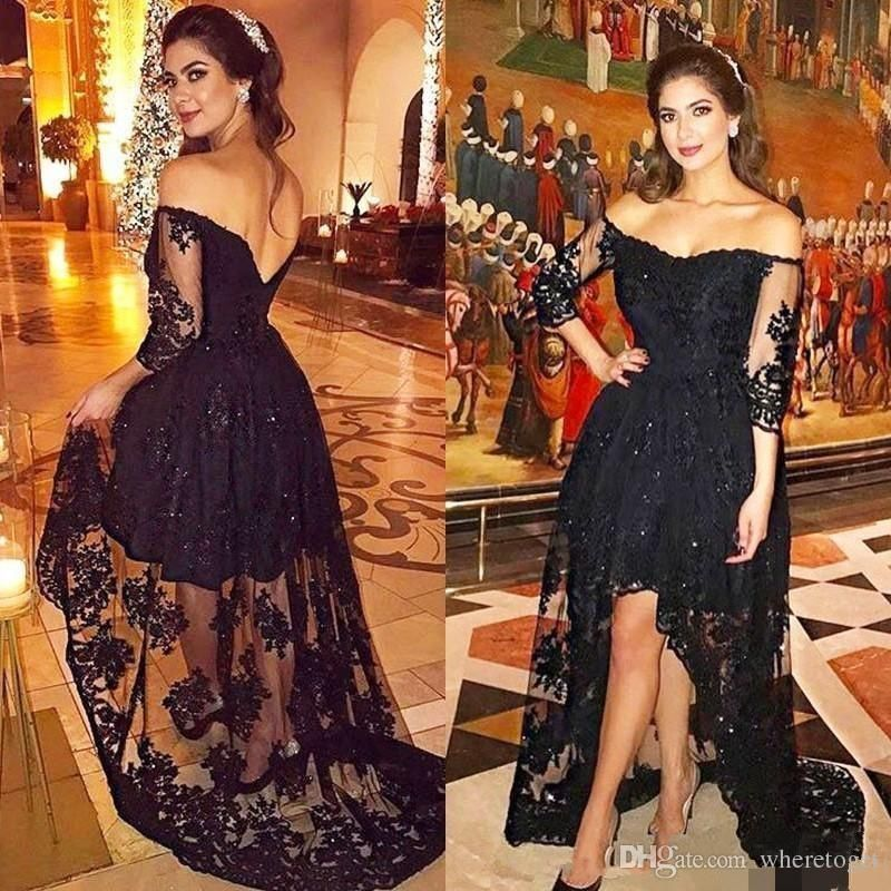 a1d3d0ee3e3 Littler Black Long Prom Dresses Short Front Long Back Spilit A Line Off  Shoulder Lace Evening Gowns Formal Women Party Dress Abendkleider 2018 from  ...