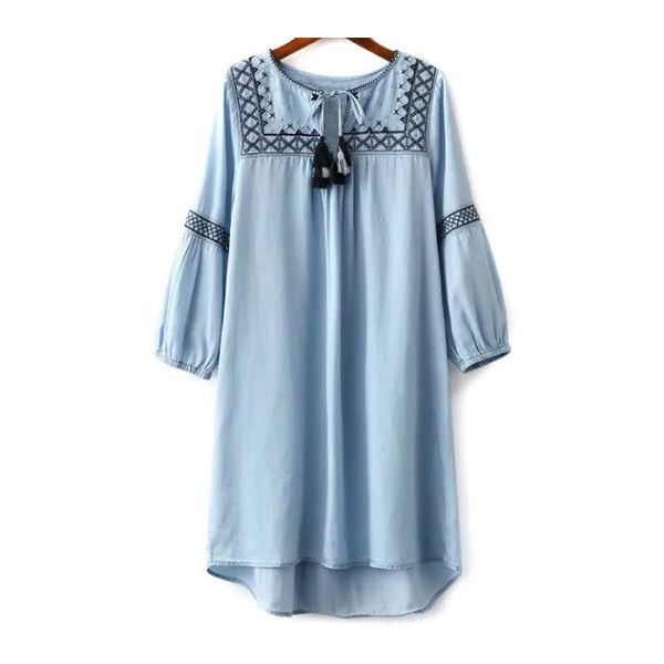 Embroidered Round Neck Long Sleeve Dress (120 ILS) ❤ liked on Polyvore featuring dresses, longsleeve dress, long sleeve dresses, blue long sleeve dress, long sleeve embroidered dress and blue dress