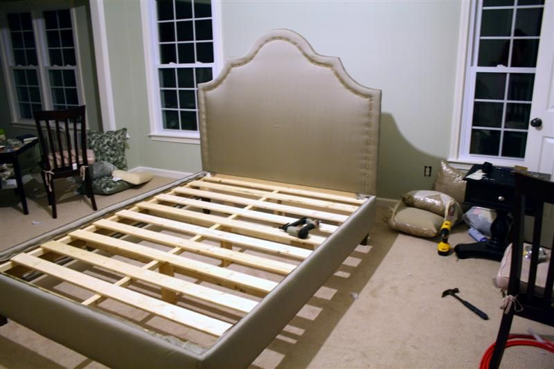 Diy Upholstered Platform Bed With Curved Fabric Headboard Diy Bed Fabric Headboard Home Diy