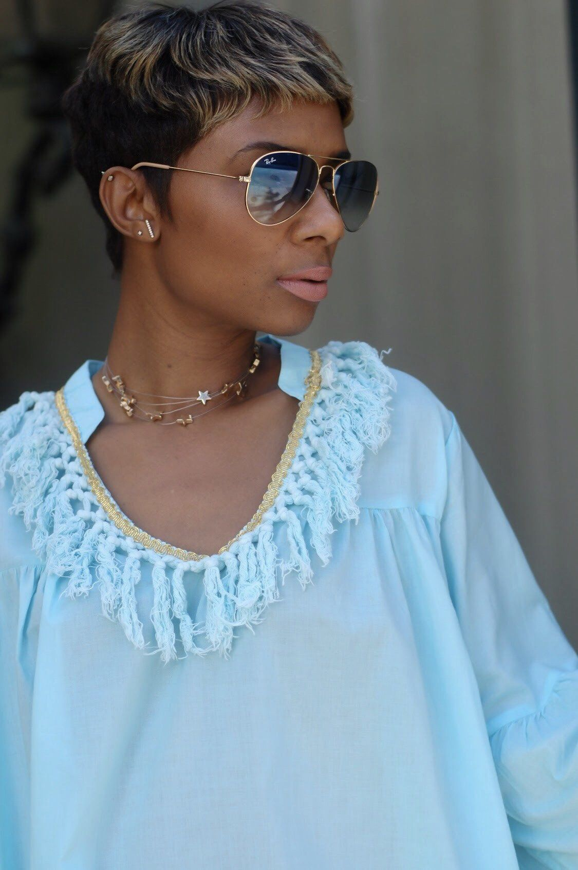 Dream blue fringe dress available in curvy favorite hairstyles