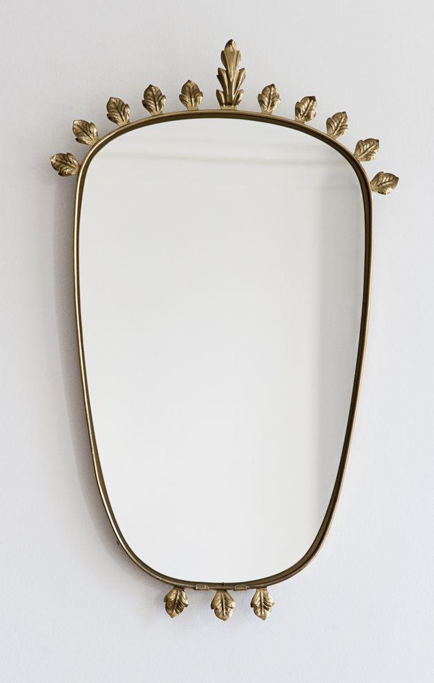 Mirror Wall Decor, Vintage Brass Mirror Wall Hanging