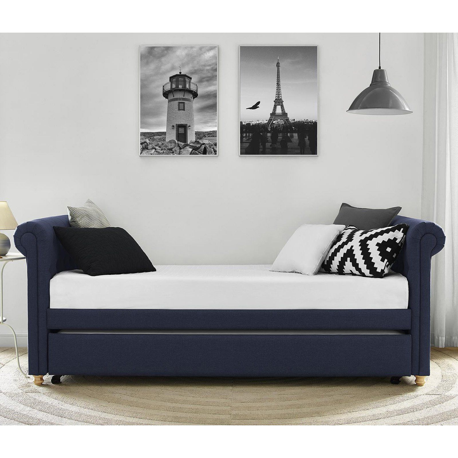 Dhp Sophia Upholstered Daybed With Trundle Navy In 2020 Daybed With Trundle Upholstered Daybed Daybed