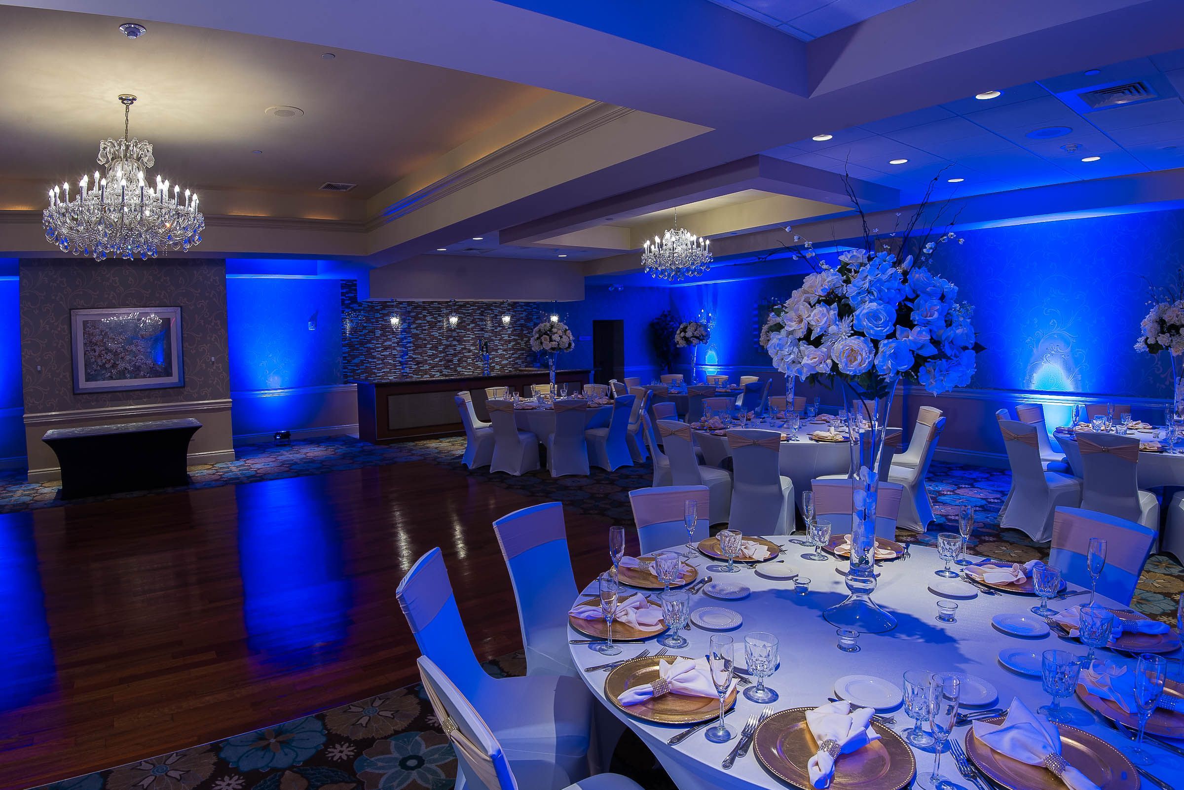 Emerald Ballroom - Blue Wall Wash Lighting | Wall wash lighting, Cove  lighting, Ballroom