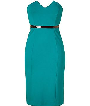 Turquoise Strapless Dress with Vinyl Waistband