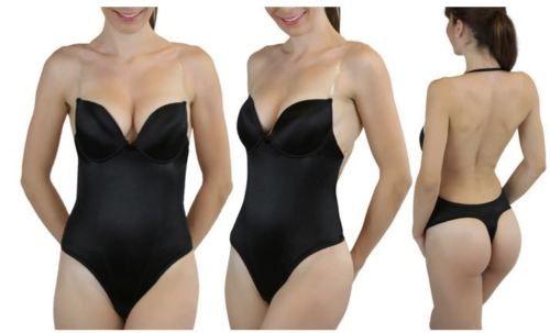 Women Backless Underwear Dress Push Up Bodysuit Clear Strap Body Shaper Soft