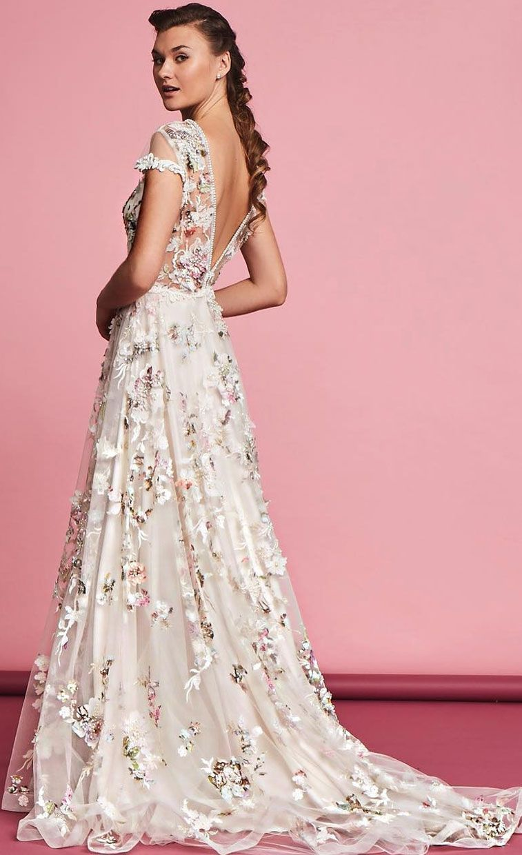 25 Gorgeous 3d Floral Applique Wedding Dresses Perfect For Spring Brides Embroidered Wedding Dress Applique Wedding Dress Floral Wedding Dress