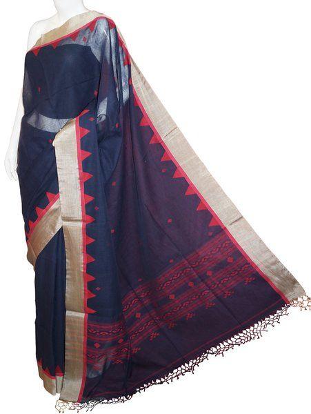 Navy Blue Bengal Cotton Silk Saree with Blouse